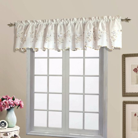 LORETTA 52u0022 X 18u0022 WINDOW CURTAIN SHAPED VALANCE WHITE