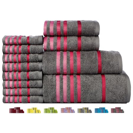 - Casa Copenhagen Exotic Cotton 475 GSM 12 Pieces Designer Bath, Hand & Washcloth Towels Gift Set - Glacier Grey