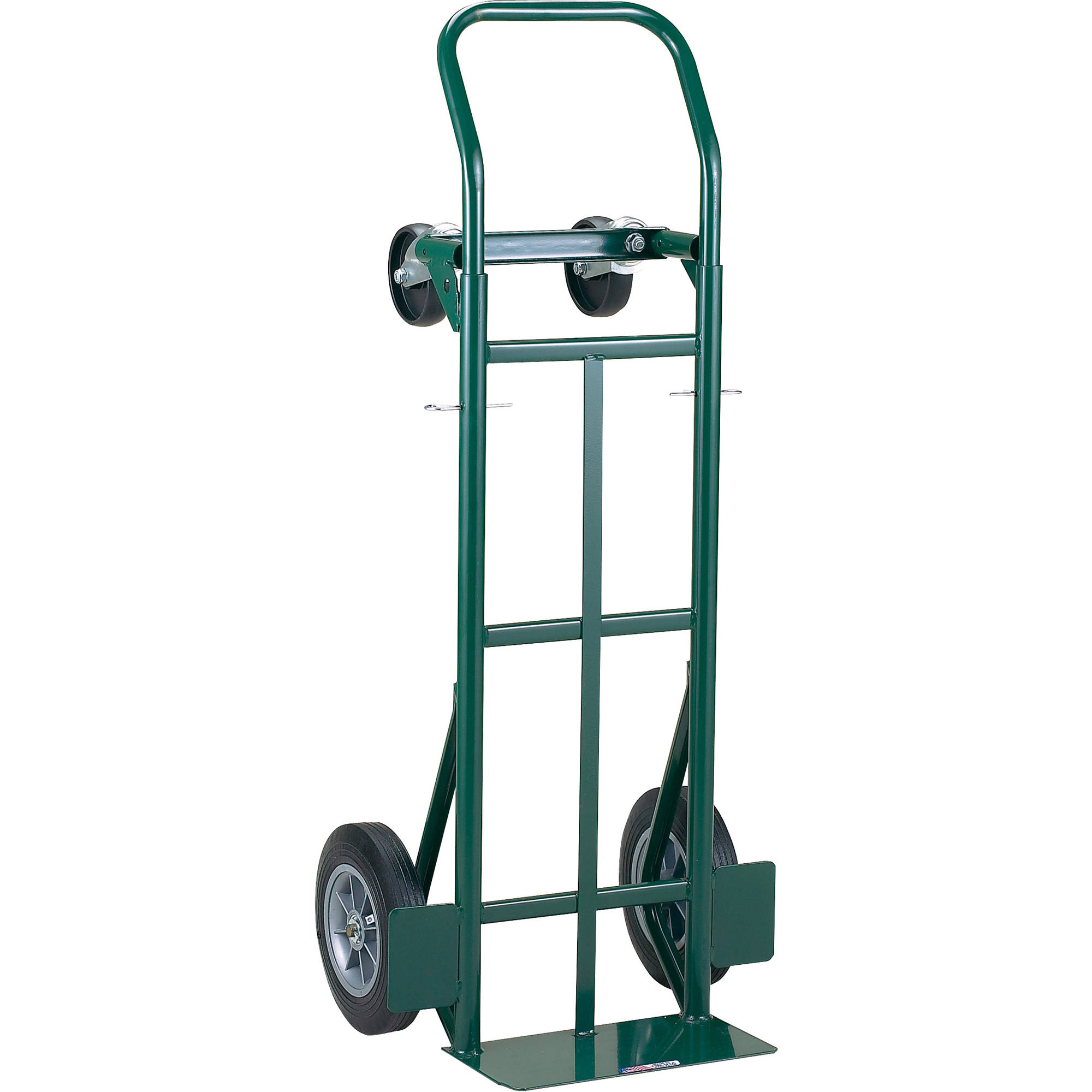 """Harper Trucks 700 lb Steel Dual Purpose 2 Wheel Dolly and 4 Wheel Cart with 10"""" Flat-Free Solid Rubber Wheels"""