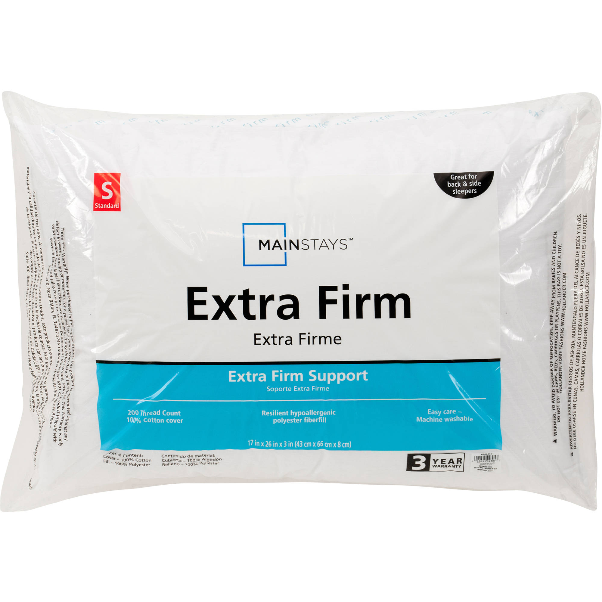 Mainstays 100% Cotton Extra-Firm Pillow Set of 2 in Multiple Sizes