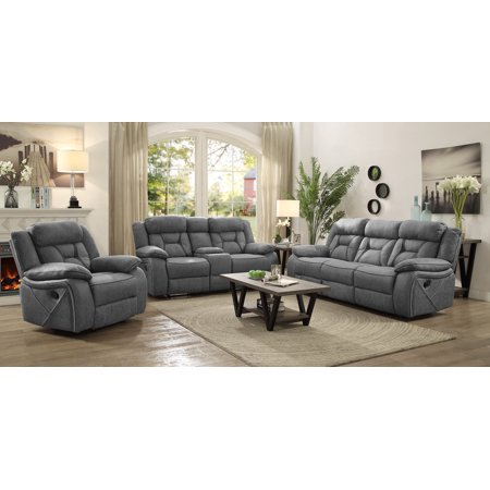 Coaster Higgins Collection Motion Loveseat in Soft Grey. Loveseat only. Dimension: 75 x 39 x 41 Microfiber Motion Loveseat