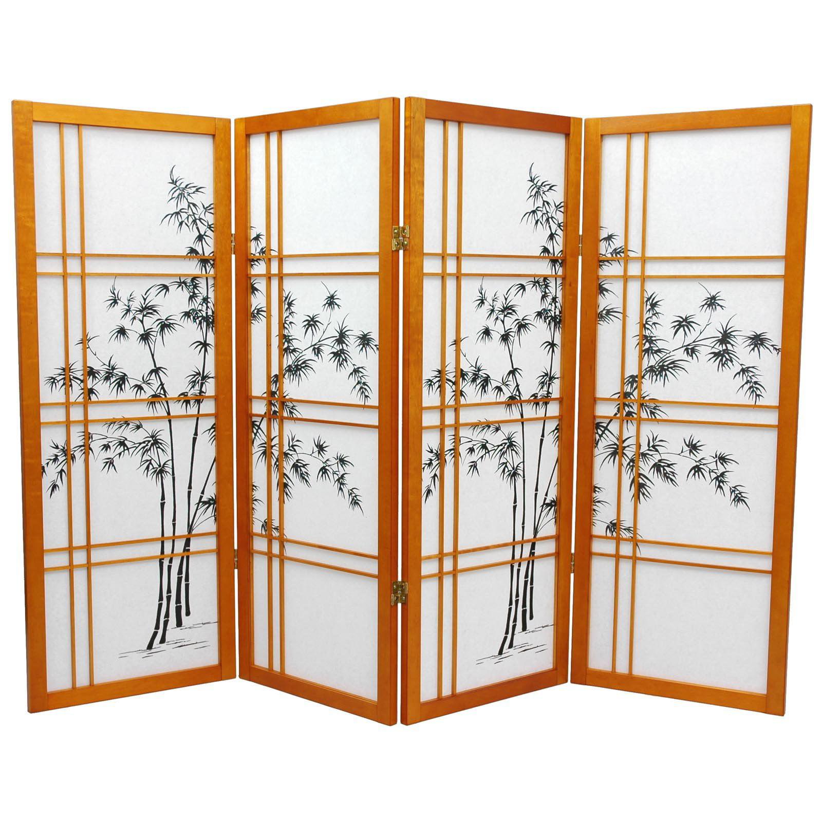 Oriental Furniture Low Window Pane Shoji Screen Room Divider-48 Inch-6 Panels-Natural