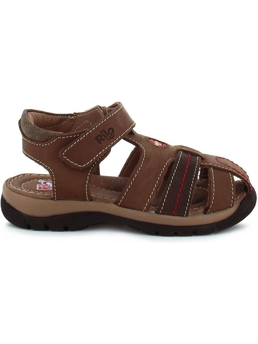 Rilo Boys Crazy Brown Strappy Hook-And-Loop Leather Sandals 2 Kids
