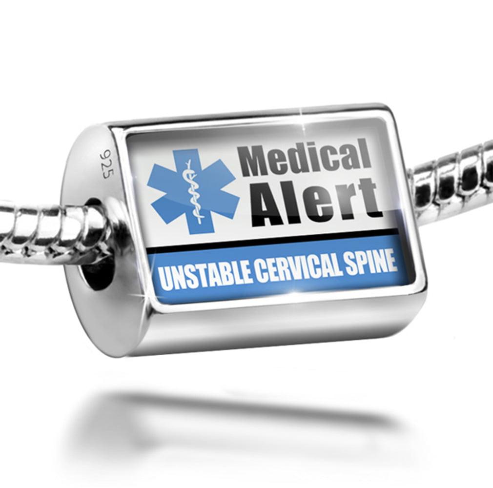 Bead Medical Alert Blue UNSTABLE Cervical Spine Charm Fits All European Bracelets