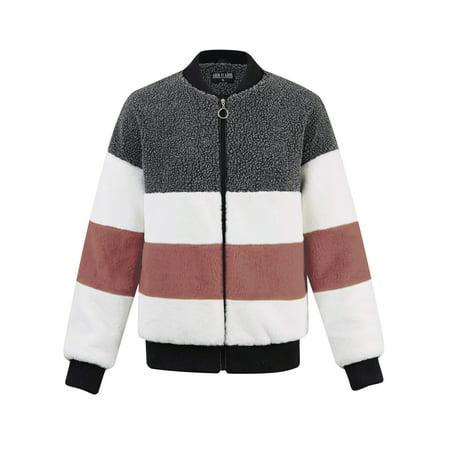MBJ WJC2154 Women's Long Sleeve Zipper up Parka Sherpa Faux Mink fur Shaggy Soft Fuzzy Fleece Jacket S MAUVE