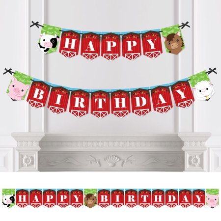 Farm Animals - Birthday Party Bunting Banner - Barnyard Party Decorations - Happy Birthday