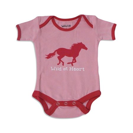 e01a42bfd939 Horse Print Onesie for Baby Girls Pink Wild at Heart   12-18 Months ...