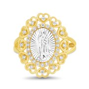 Women's White Cubic Zirconia 2 Tone Virgin Mary Oval Shaped Heart Border Ring in Yellow Gold and Rhodium Plated Sterling Silver