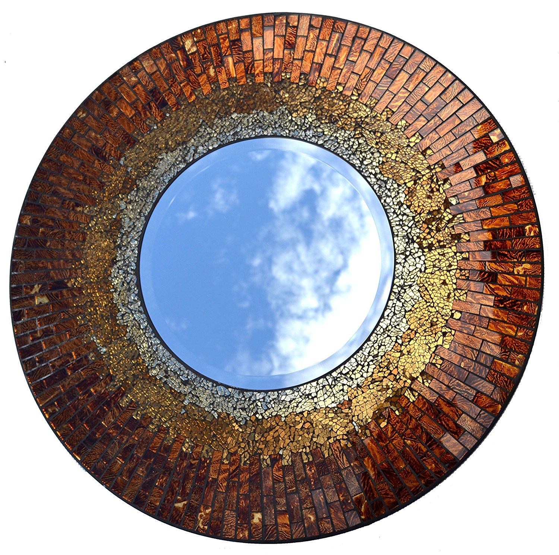 Lulu Decor, Baltic Amber Mosaic Wall Mirror, Decorative Handmade Beveled Round Mirror, Diameter 23.5\ by Lulu Decor