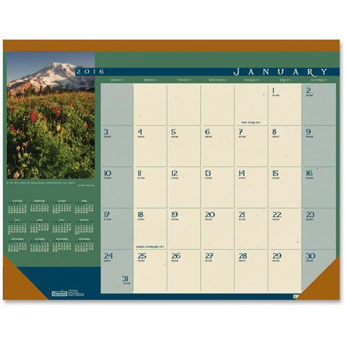 "House of Doolittle Landscapes Photographic Monthly Desk Pad Calendar, 22"" X 17"", 2016"