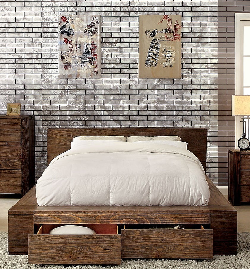 Queen Size Bed Rustic Natural Tone Finish Low Profile Bed W Storage Drawers Fb Bedroom Furniture 1pc Bed Solid Wood Walmart Com Walmart Com