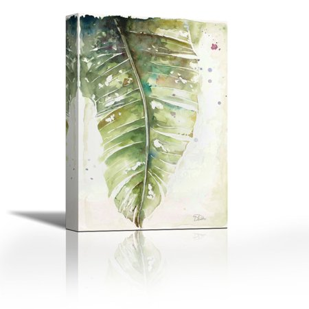Watercolor Plantain Leaves I - Contemporary Fine Art Giclee on Canvas Gallery Wrap - wall décor - Art painting - 24 x 36 Inch - Ready to Hang