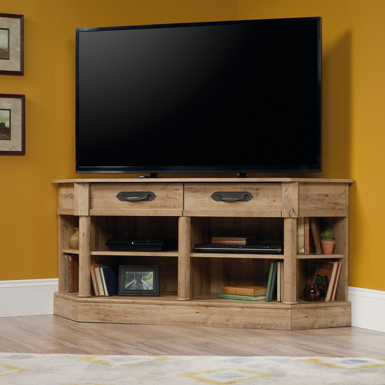 "Sauder Viabella Corner Entertainment Credenza for TVs up to 60"", Antigua Chestnut Finish"