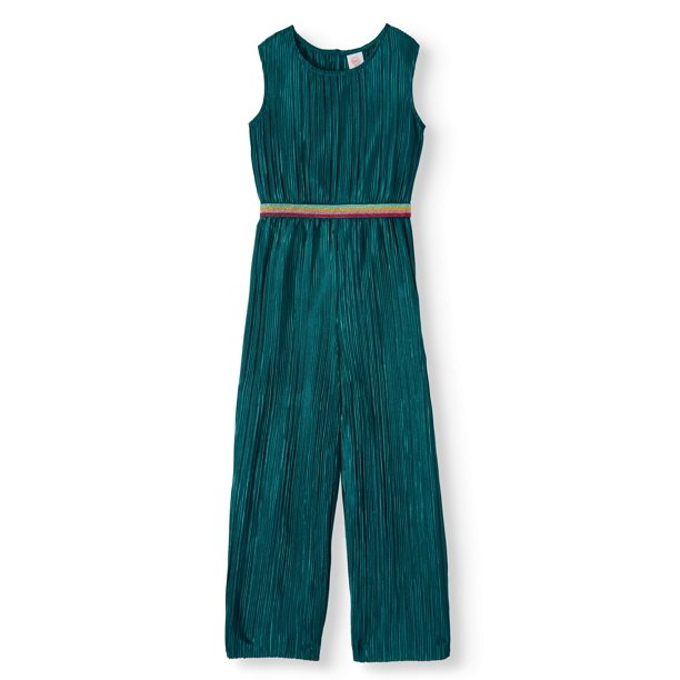 Wonder Nation Holiday Party Pleated Jumpsuit With Glitter Waistband (Little Girls, Big Girls & Plus)
