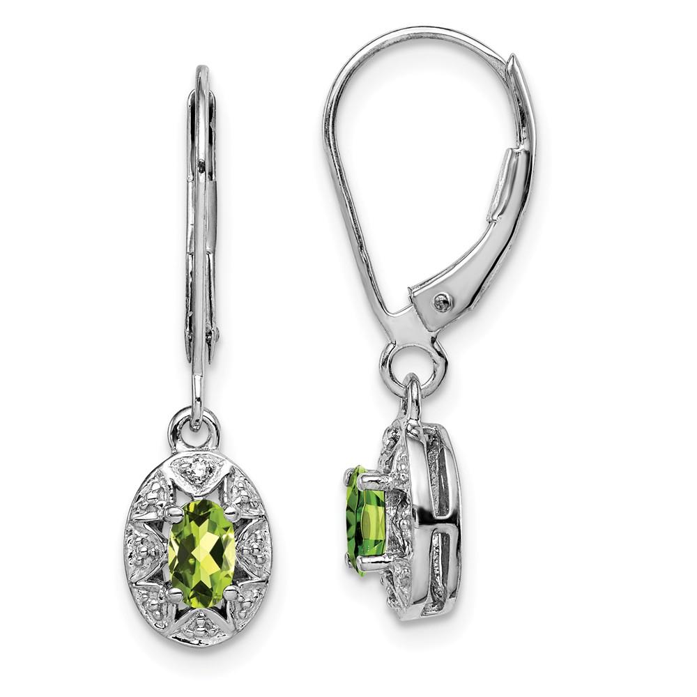 Sterling Silver 1.0IN Long Diamond & Peridot Earrings