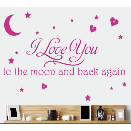 KABOER To The Moon Star Moon English rumor wallpaper =-Living Room Bedroom Bedside Wall Sticker