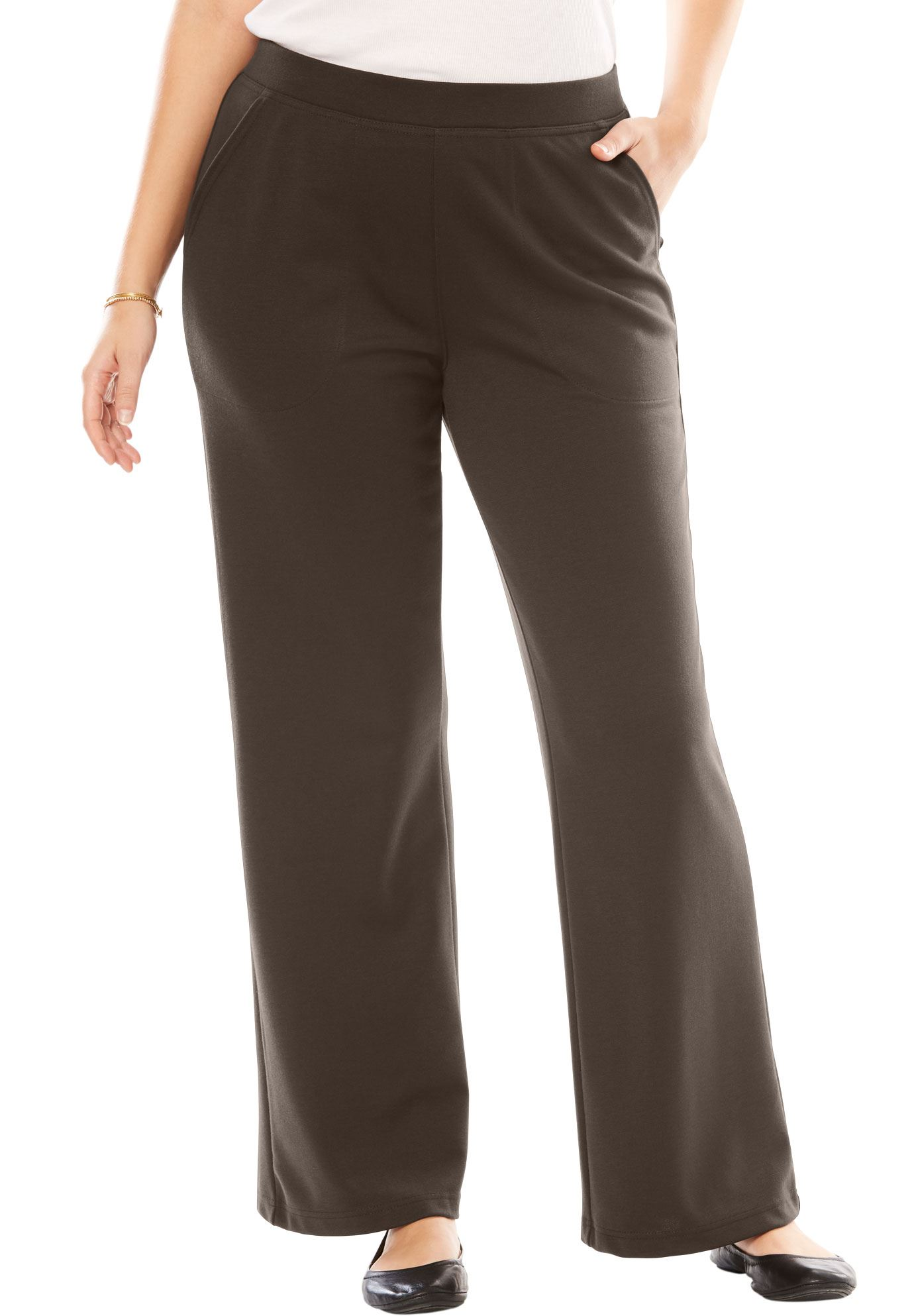 Woman Within Plus Size Petite Wide Leg Ponte Knit Pant