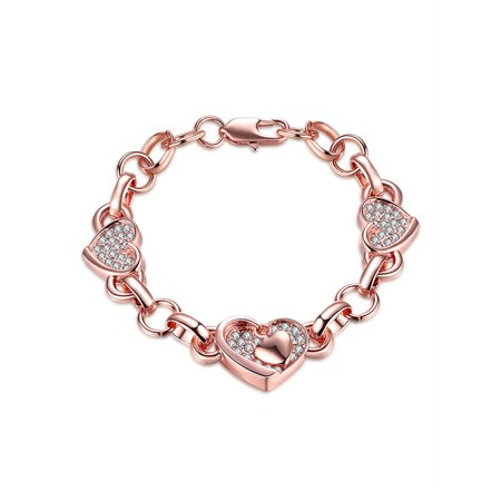 Devuggo 18K Rose Gold Plated Women Heart Link Bracelet Bangle Jewelry, Women Gifts for Her