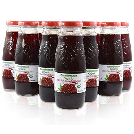100% Pomegranate Juice - 24 Pack ,6.76Fl Oz - USDA Organic Certified - Glass Bottle - No Sugar Added - No Preservatives - Squeezed From Fresh Pomegranates