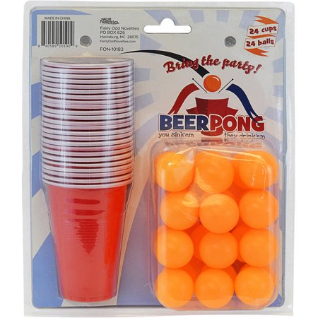 Fairly Odd Novelties Beer Pong Set, 24 Cups & 24