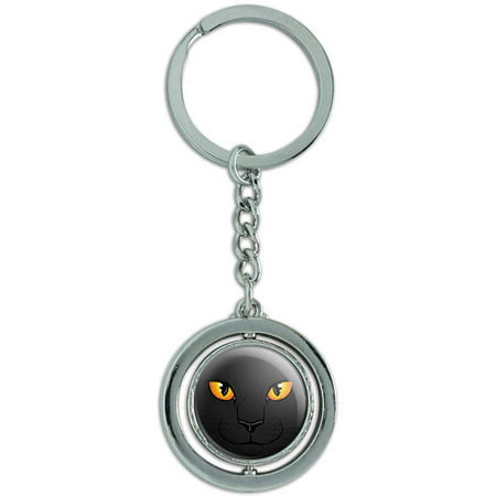 Black Cat Face Pet Kitty Spinning Round Metal Key Chain Keychain (Round Faced Cats)