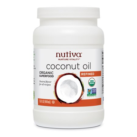 Nutiva Organic, Steam Refined Coconut Oil from non-GMO, Sustainably Farmed Coconuts, 15 Fluid Ounces ()