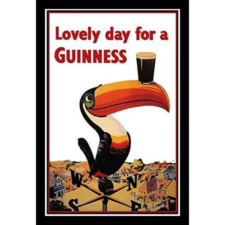 Framed Guinness Beer Lovely Day Toucan On Weather Vane 18X12 Advertising Art Print Poster Irish Stout Brew