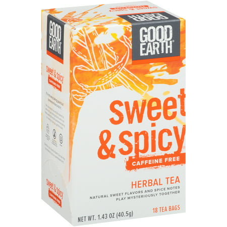 Good Earth Original Sweet & Spicy Herbal Caffeine Free Wrapped Tea Bags, 18 ct