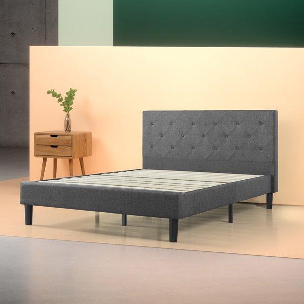 "Zinus Shalini 41"" Upholstered Diamond Stitched Platform Bed, Dark Grey, Full"