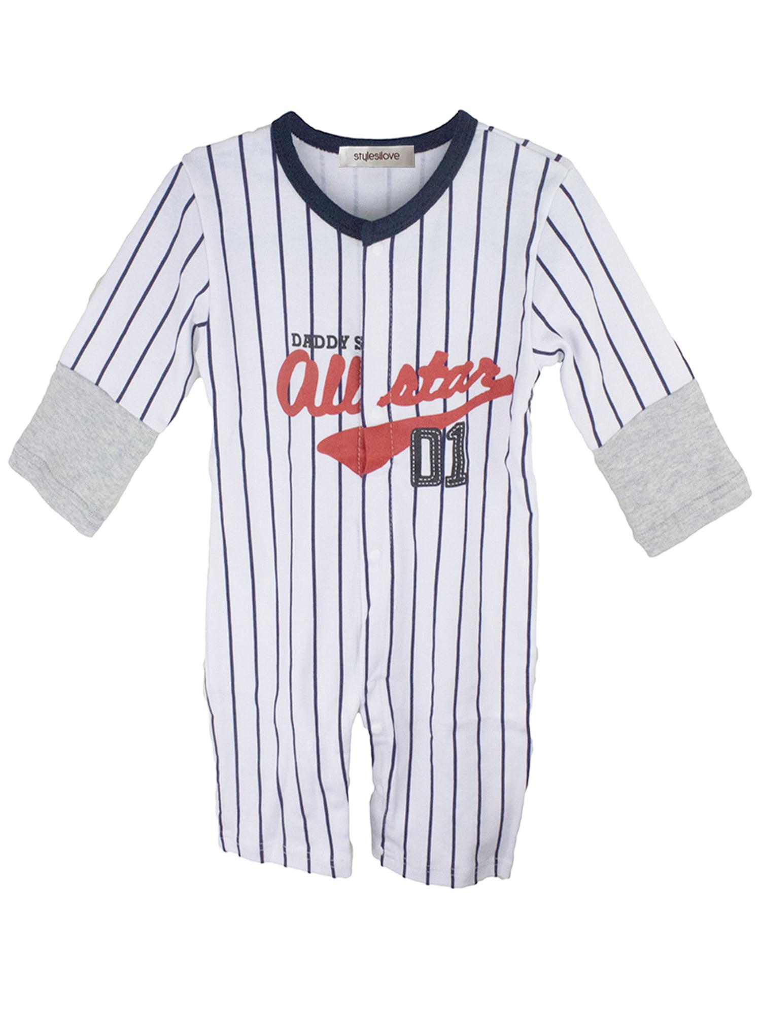 StylesILove Baby Boy Sport Baseball Long Sleeve Jumpsuit (24-36 Months, Navy/Grey)