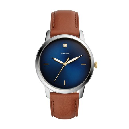 Fossil Men's The Minimalist Carbon Series Three-Hand Brown Leather Watch FS5499 Hand Wind Watch Series