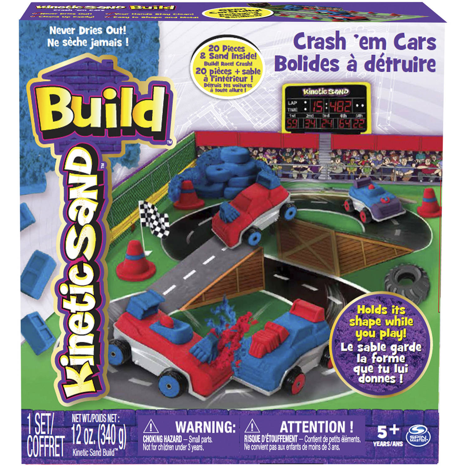 The One & Only Kinetic Sand Build Crash 'Em Cars Playset