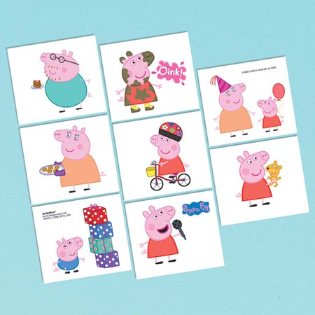 Peppa pig tattoos 16 tattoos party supplies for Tattoo party ideas