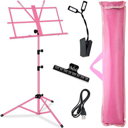 Kasonic Professional Collapsible Music Stand Portable and Lightweight with LED light, Music Sheet Clip Holder and Carrying Bag Suitable for Instrumental Performance (Pink) - Lightweight Music Stand