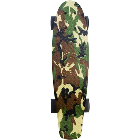 "Retro Penny Board Skateboard, Retro Skateboard by Madd Gear, 22.5"" Penny Skateboard Deck, Army Camo"