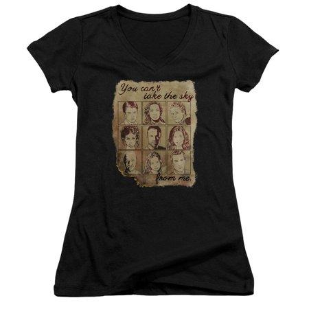 Firefly - Burned Poster Junior V-Neck T-Shirt - Junior V-Neck T-Shirt / S / Black - Firefly Kids Clothes