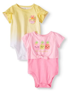 b8adcae89 Product Image Baby Girls' Tulip Sleeve & 2fer Tie-Front Bodysuits, 2-Piece  Multi