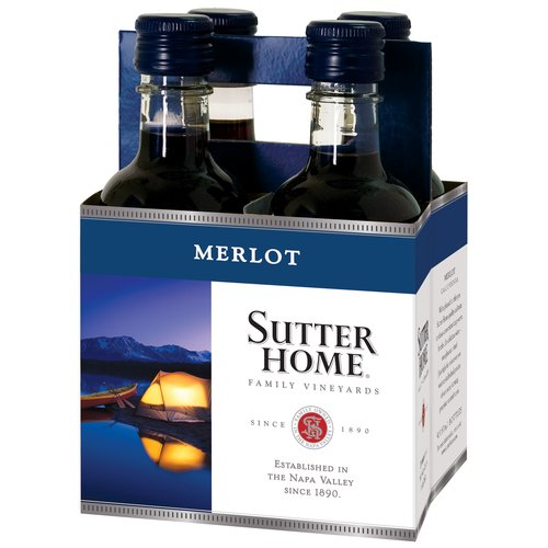 Sutter Home Merlot Wine, 4 pack, 187 mL