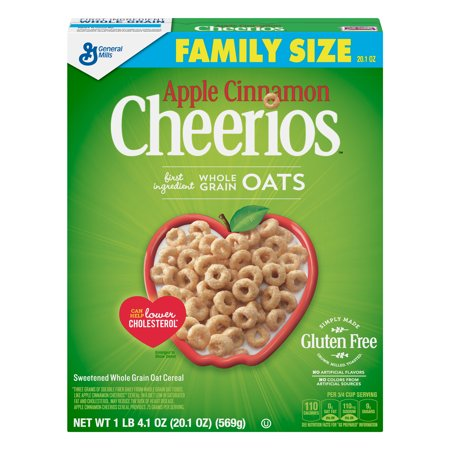 (2 Pack) Apple Cinnamon Cheerios, Gluten Free, Cereal, Family Size, 20.1 oz (Calories In Bowl Of Cheerios With Almond Milk)