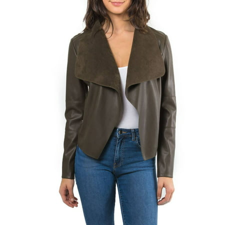 fad4125f6 Bagatelle Womens Faux Leather Draped Jacket (Olive, X-Large)