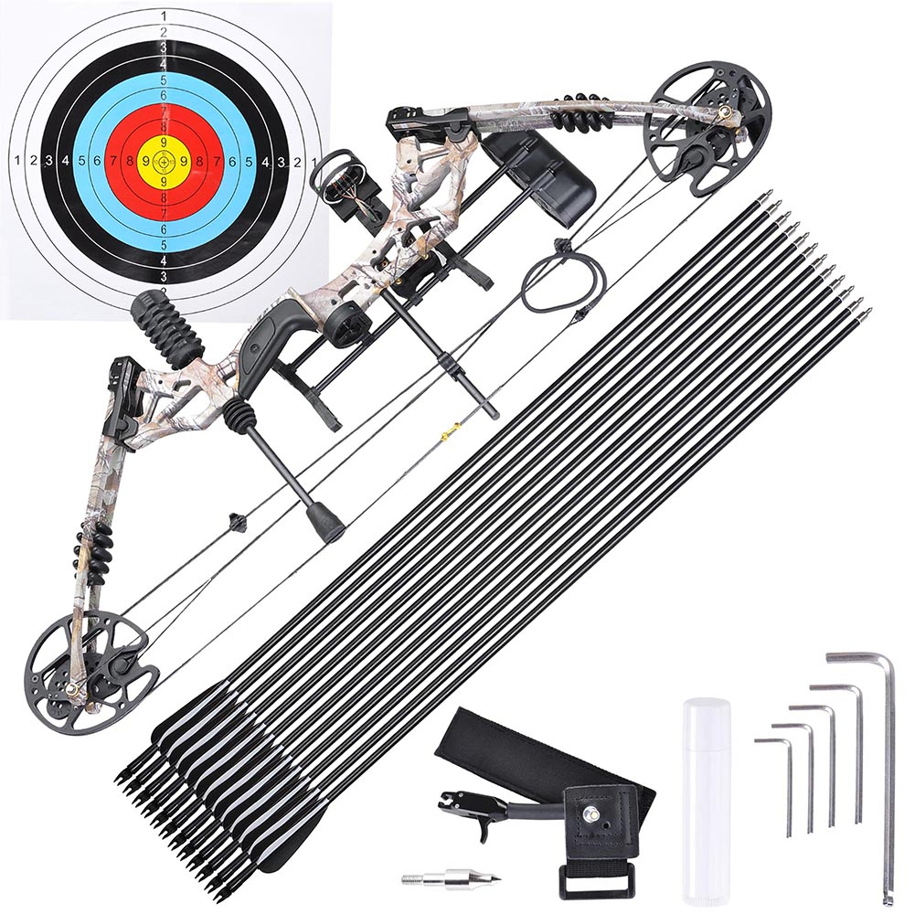 Pro Compound Bow Kit Right Hand w/ 12pcs Carbon Arrows Arrow Adjustable 20 to 70lbs Archery Set Black/Camo Opt