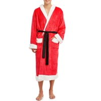 Deals on Dec. 25th Mens Hooded Plush Santa Robe with Pom Pom Topper