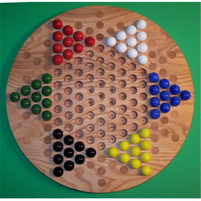 Charlies Woodshop W-1925alt. -3 Wooden Marble Game Board - Red Oak with 42 Birch Inlaid Spots