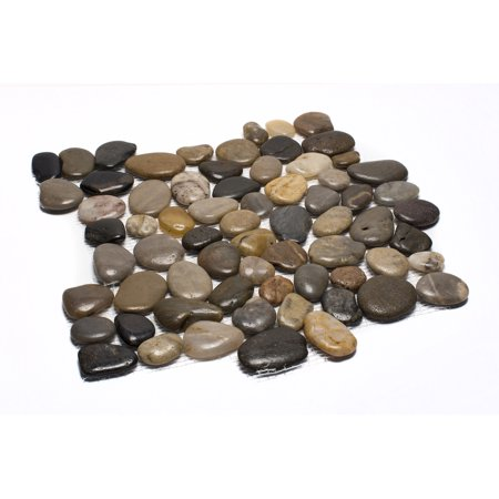Rainforest Mixed Mid-Polish Pebble Stone Floor and Wall Tile 12 in. x 12 in. (5.0 sq. ft. / case)