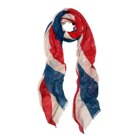 Large Vintage One UK British Flag Union Jack Print Scarf Shawl Wrap