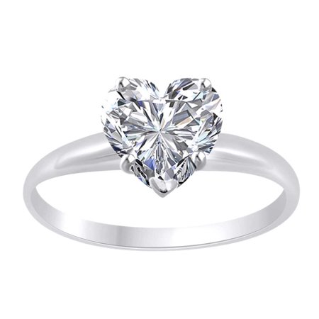 Heart Shape White Cubic Zirconia Solitaire Engagement Ring In 14k Solid White Gold (1.50 cttw) Ring Size-4