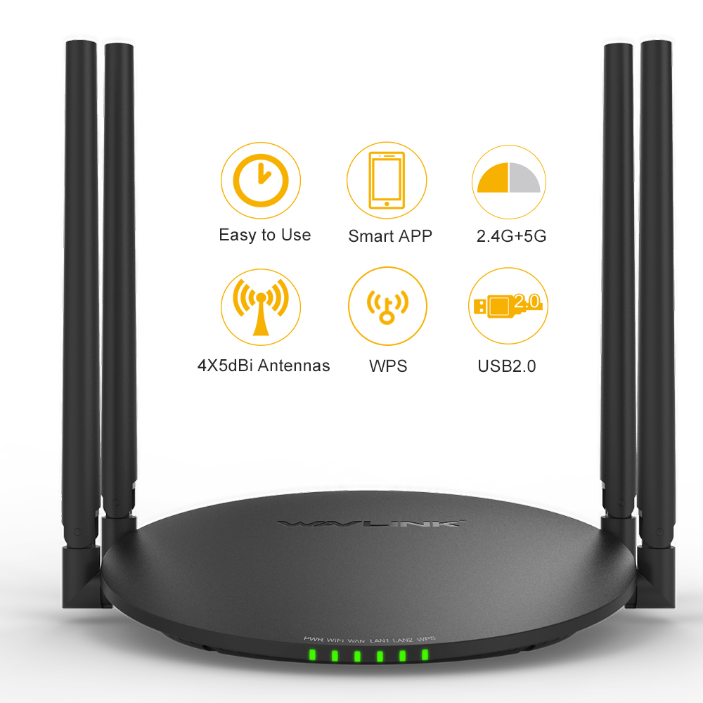 Wavlink AC1200 Wireless Router Dual Band Wi-Fi Router Smart WIFI App Enabled to Control Your Network from Anywhere