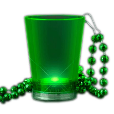 Light Up Green Shot Glass On Green Beaded Necklaces Shot Glass Beads