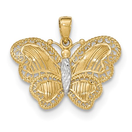 14k Yellow Gold Butterfly Pendant Charm Necklace Animal Gifts For Women For Her