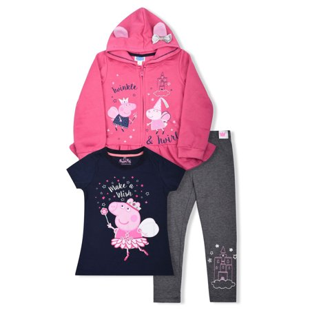 Peppa Pig Graphic Hoodie, T-Shirt, And Legging, 3-Piece Outfit Set (Little Girls)